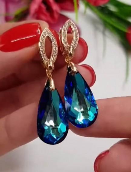 Cерьги с кристаллами Сваровски E-366 цена
