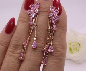 Cерьги длинные с розовыми фианитами E-511 цена