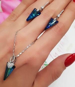 Комплект бижутерии с бирюзовыми кристаллами Сваровски
