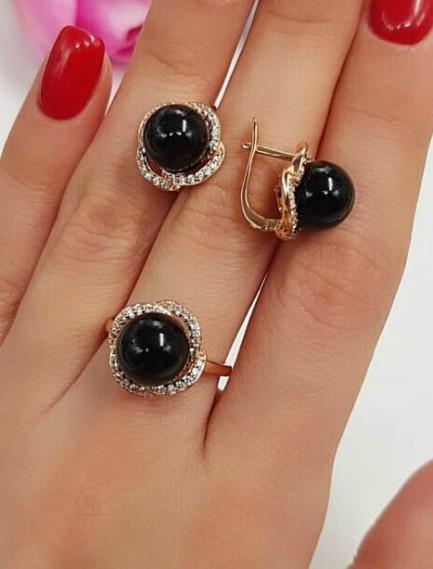 Комплект серьги и кольцо с черным камнем