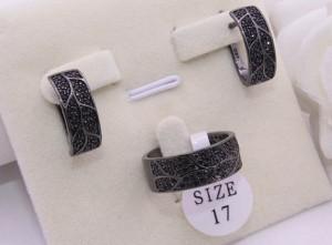 Комплект родированной бижутерии с черными фианитами
