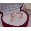 Кольцо стильное с фианитовыми вставками R-0052 медицинское золото