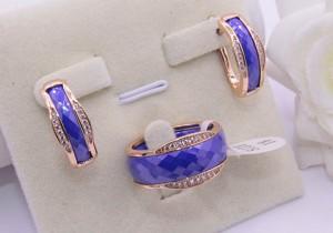 Комплект позолоченной бижутерии с синей керамикой