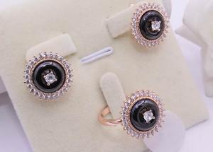 Комплект керамической бижутерии с белыми фианитами