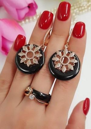 Комплект позолоченной черной керамической бижутерии