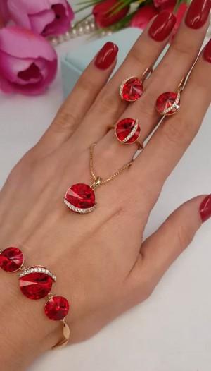 Набор бижутерии с красными кристаллами Сваровски
