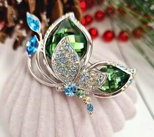 Брошь родированная с кристаллами Сваровски в виде бабочки