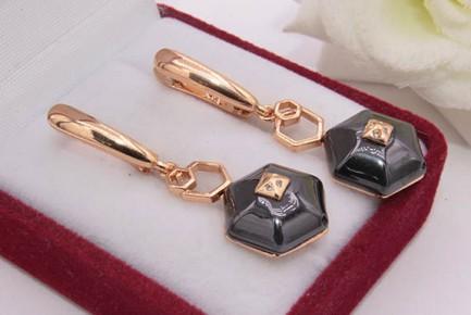 Серьги керамические с золотым покрытием E-676-g-black цена