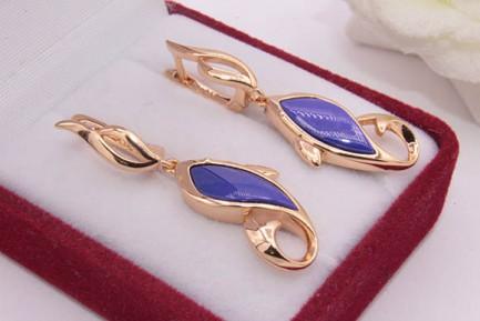 Серьги позолоченные с цветной керамикой E-679-g-blue цена