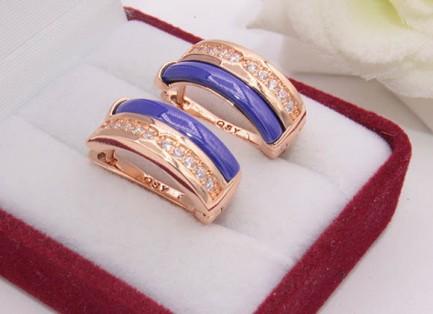 Серьги позолоченные с цветной керамикой и фианитами E-688-g-blue цена