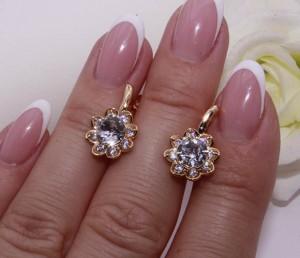Cерьги позолоченные с кристаллами Сваровски E-832 цена