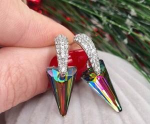 Cерьги родированные с кристаллами Сваровски E-872 цена