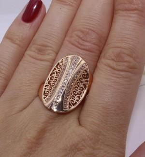 Кольцо ажурное позолоченное с фианитами R-0055 бижутерия
