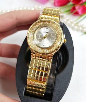 Часы женские кварцевые позолоченные с фианитами