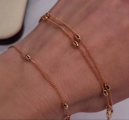 Комплект позолоченной бижутерии цепочка и браслет