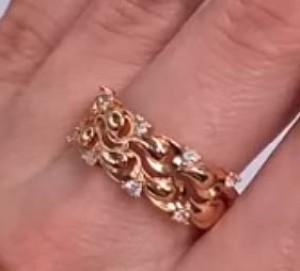 Кольцо ажурное позолоченное с фианитами R-0088 цена