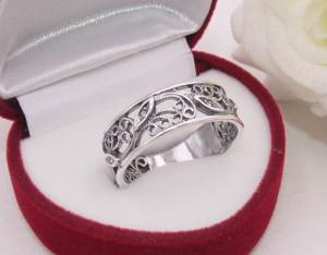 Кольцо ажурное с серебряным покрытием R-0090 купить