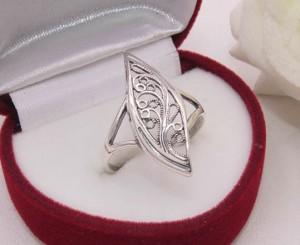 Кольцо ажурное с серебряным покрытием R-0101 ювелирный сплав