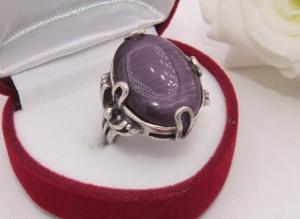 Кольцо посеребренное с цветной вставкой R-0106 бижутерия