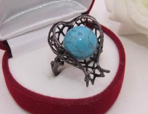 Кольцо с вставкой под бирюзу R-0114 бижутерия