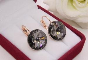 Cерьги позолоченные с кристаллами Swarovski E-1107 цена