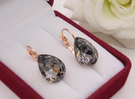 Cерьги с кристаллами Сваровски и с золотым покрытием E-1115 цена