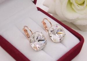 Cерьги позолоченные с кристаллами Swarovski E-1121 цена