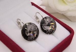 Cерьги родированные с кристаллами Сваровски E-1132 цена