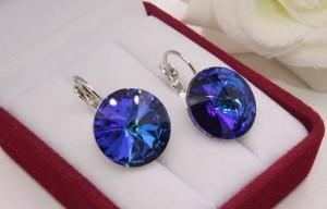 Cерьги родированные с цветными кристаллами Swarovski E-1135 цена