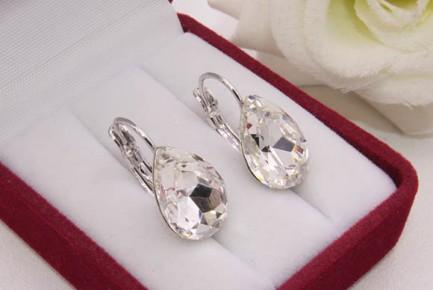 Cерьги родированные с кристаллами Swarovski E-1139 цена
