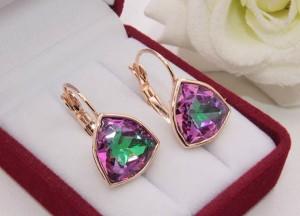 Cерьги позолоченные с кристаллами Swarovski E-1145 цена