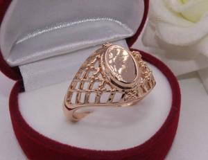 Кольцо ажурное позолоченное R-0030 бижутерия