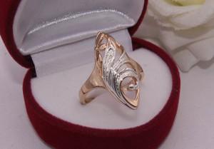 Кольцо ажурное с комбинированным покрытием R-0154 бижутерия