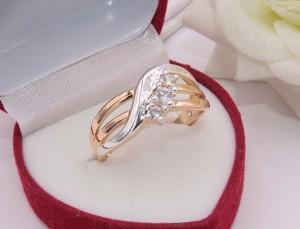 Кольцо позолоченное с фианитами R-0202 стоимость