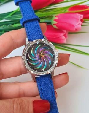 Часы женские с вращающимся циферблатом и синим ремешком