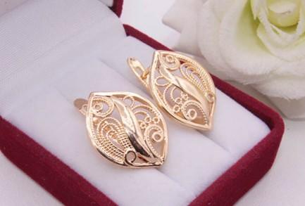 Серьги ажурные с золотым покрытием E-1180 цена