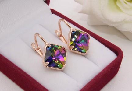 Cерьги с разноцветными кристаллами Swarovski E-1199 цена