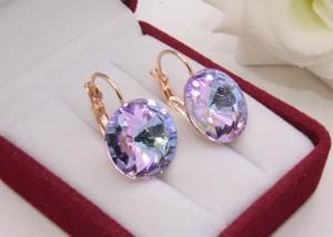Cерьги позолоченные с кристаллами Swarovski E-1205 цена
