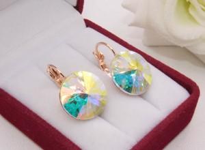 Cерьги позолоченные с кристаллами Swarovski E-1206 цена