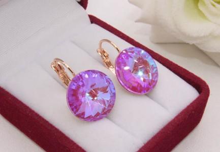 Cерьги позолоченные с цветными кристаллами Сваровски E-1208 цена