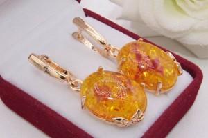 Серьги позолоченные с искусственным янтарем E-1212 цена