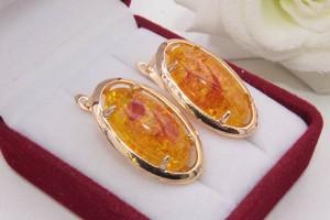 Серьги позолоченные с вставкой под янтарь E-1217 цена