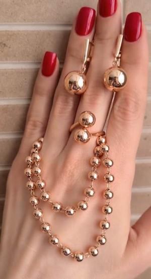Комплект бижутерии с позолотой серьги, кольцо, браслет в виде бус