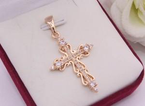 Крест позолоченный ажурный с фианитами