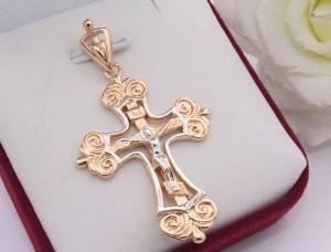Крест позолоченный c родиевым покрытием