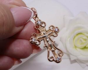 Крест позолоченный ажурный с белыми фианитами