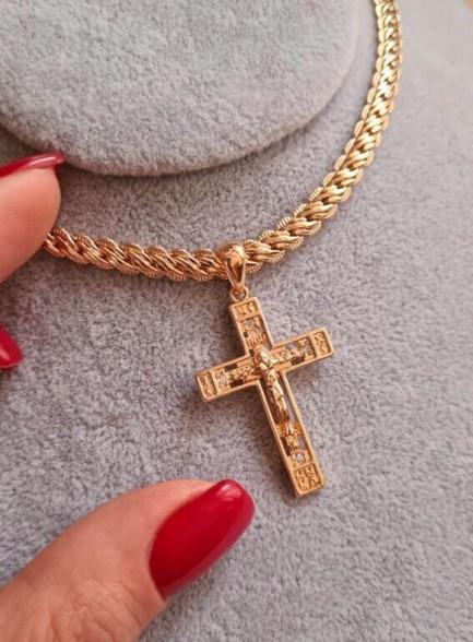 Крест позолоченный с фианитами