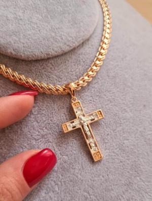 Крест с комбинированным покрытием и белыми фианитами