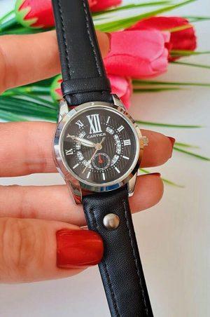 Часы женские кварцевые с черным ремешком