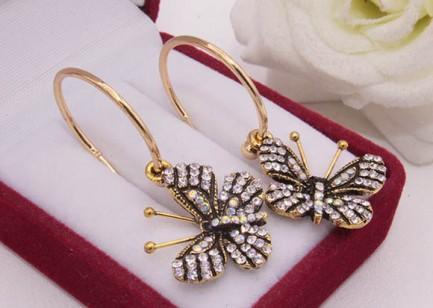 Cерьги бабочки с фианитовыми вставками